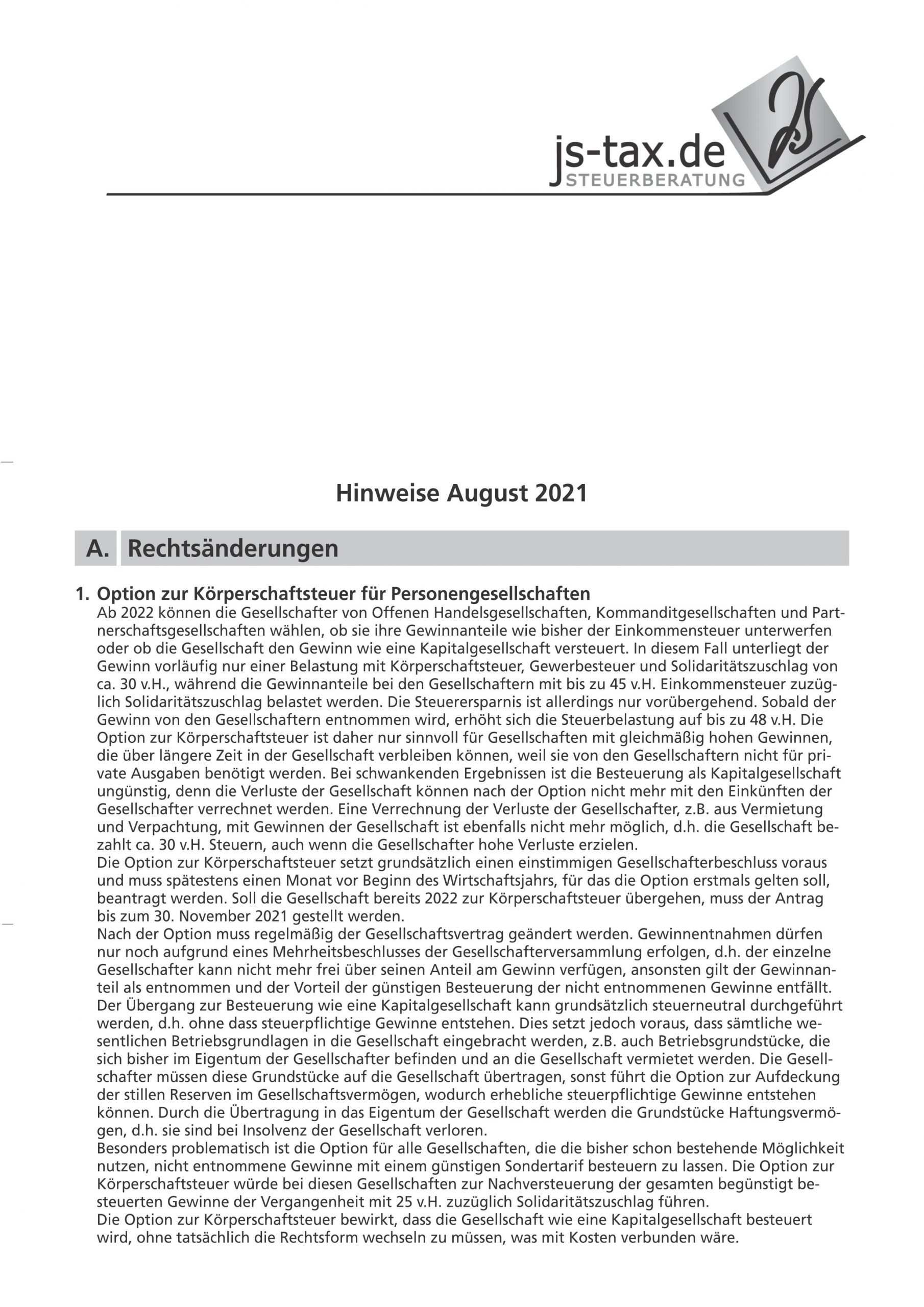 js-tax Steuerberatung Mandantenrundschreiben 2021-08 S1